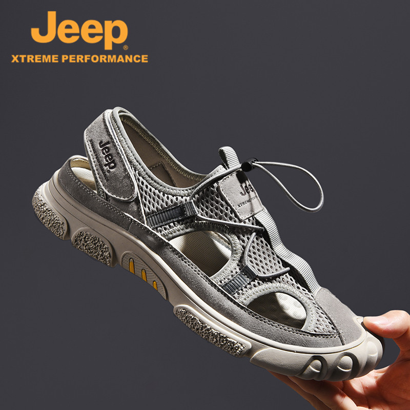 Jeep / Jeep sandals men tide summer new leather bag outdoor casual sports hollow cool towers beaches
