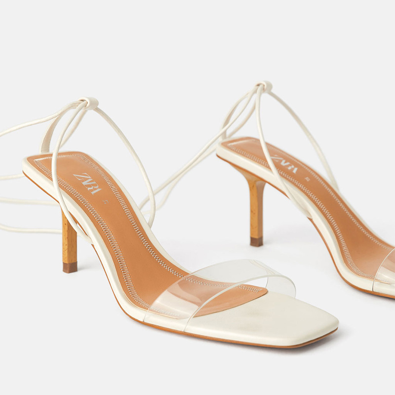 Za the same new womens shoes 2019 summer nude wooden high heels plastic sandals womens lace up slim HEELS SANDALS