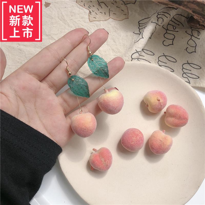 少女颜究所超可爱的仿真水蜜桃子耳环~毛桃琉璃树叶水果韩国气质