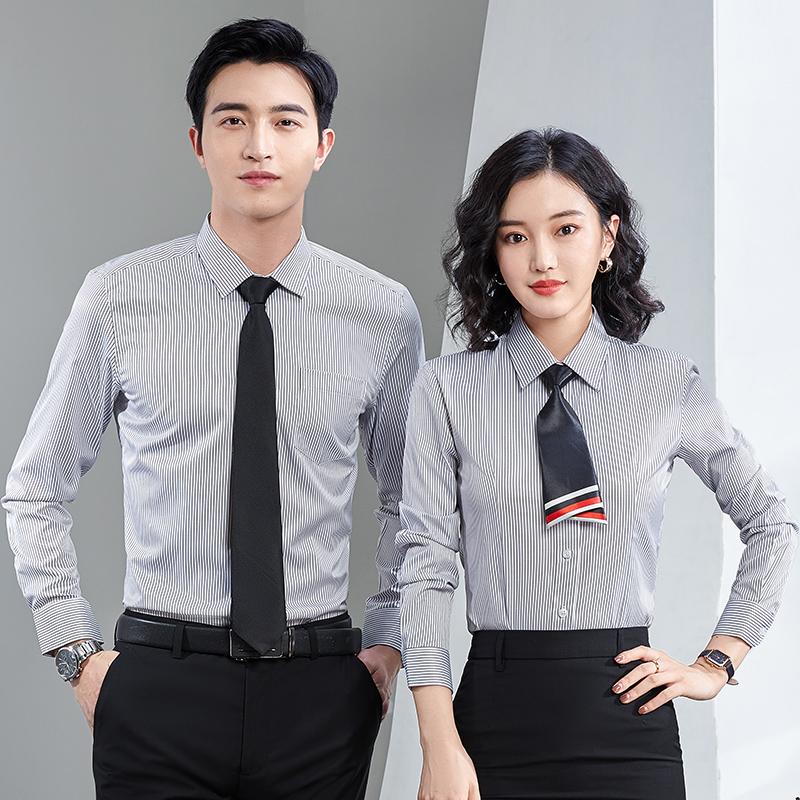 2021春秋新款女士长袖条纹衬衫方领正装职业工作服短袖衬衣上衣寸