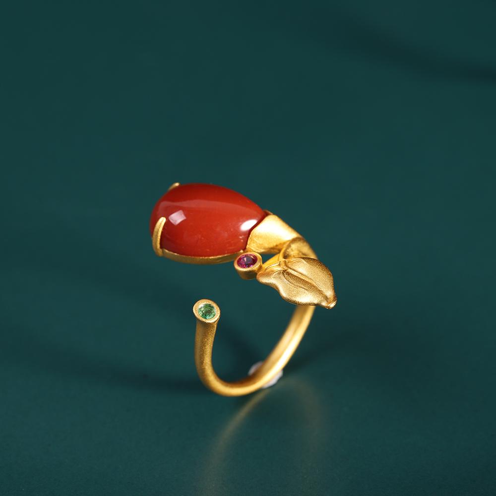 斗量珠宝 时尚小清新戒指 s925银饰品女式花卉水滴南红玛瑙指环