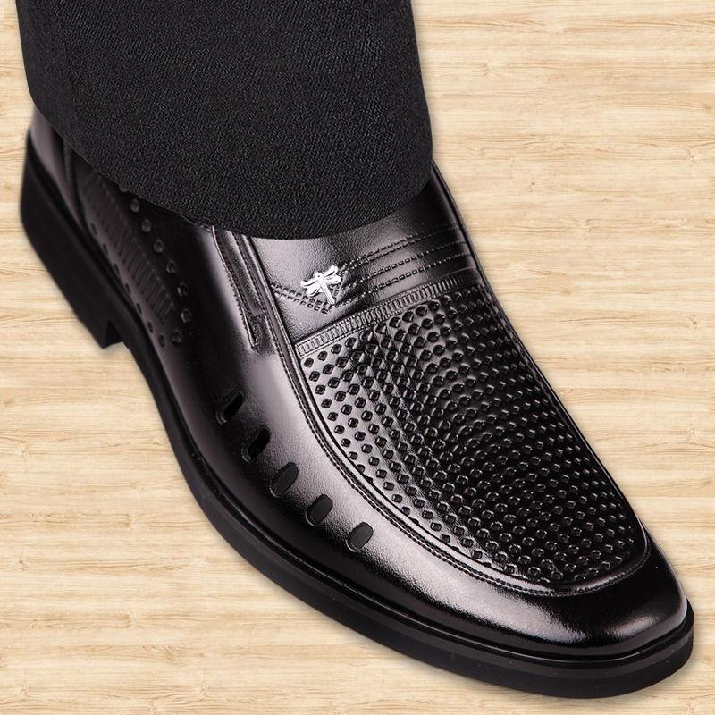 New holed summer hollow out mens sandals leather business dress mens shoes with holes