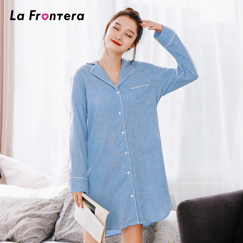 2020 new summer shirt dress pajamas cotton long sleeve Lapel solid color home clothes loose Korean women