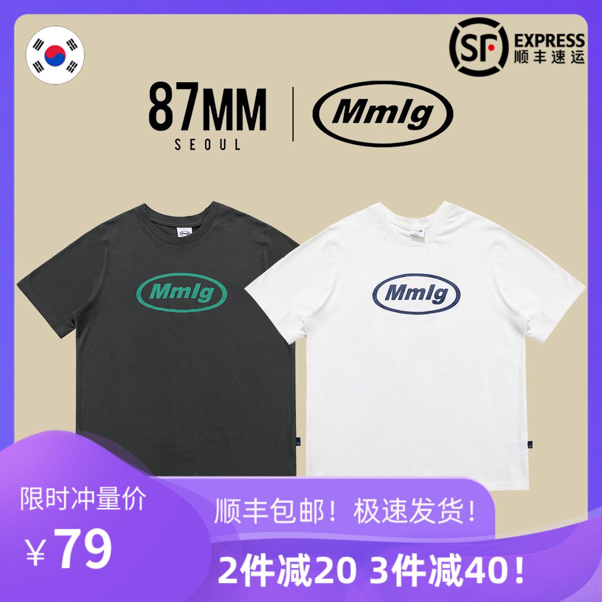 87mm韩国潮牌mmlg新款ins宽松女字母纯棉情侣1987圆领白色短袖T恤