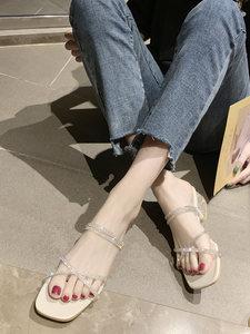 拖鞋女夏天外穿ins潮网红时尚两穿凉鞋带钻高跟鞋仙女风中跟粗跟