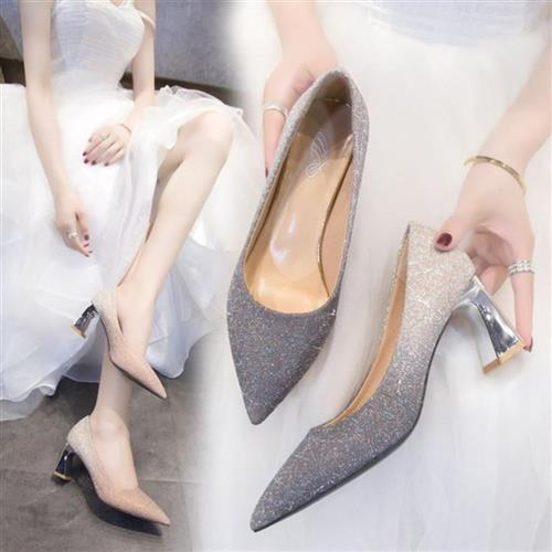 。 Annual party evening dress high heels silver champagne Bridesmaid bride 2021 wedding dress shoes