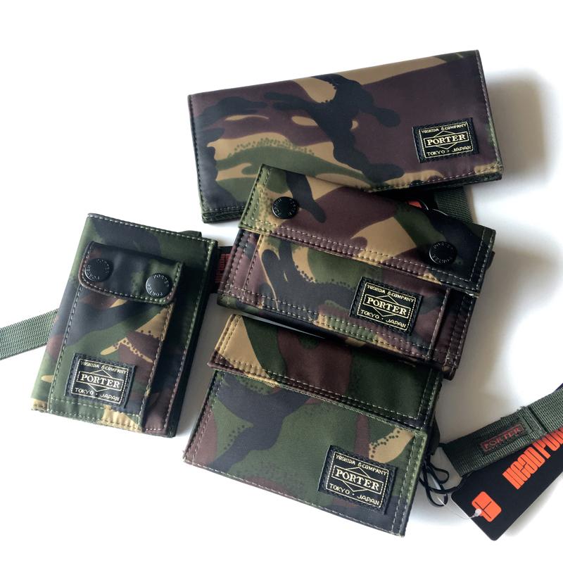 Yoshida wallet mens short Velcro camouflage horizontal vertical Korean personalized fashion card bag for students