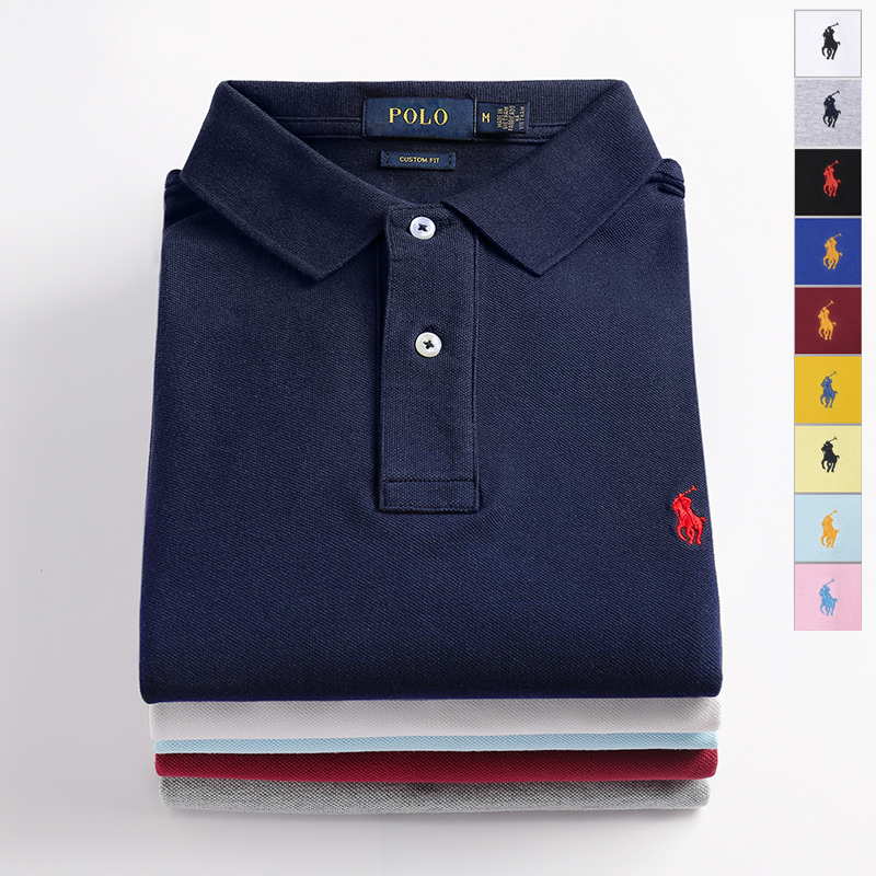 Polo shirt with lapel, mens short sleeve, new embroidery pony logo, business and leisure, large polo, mens high-end polo shirt