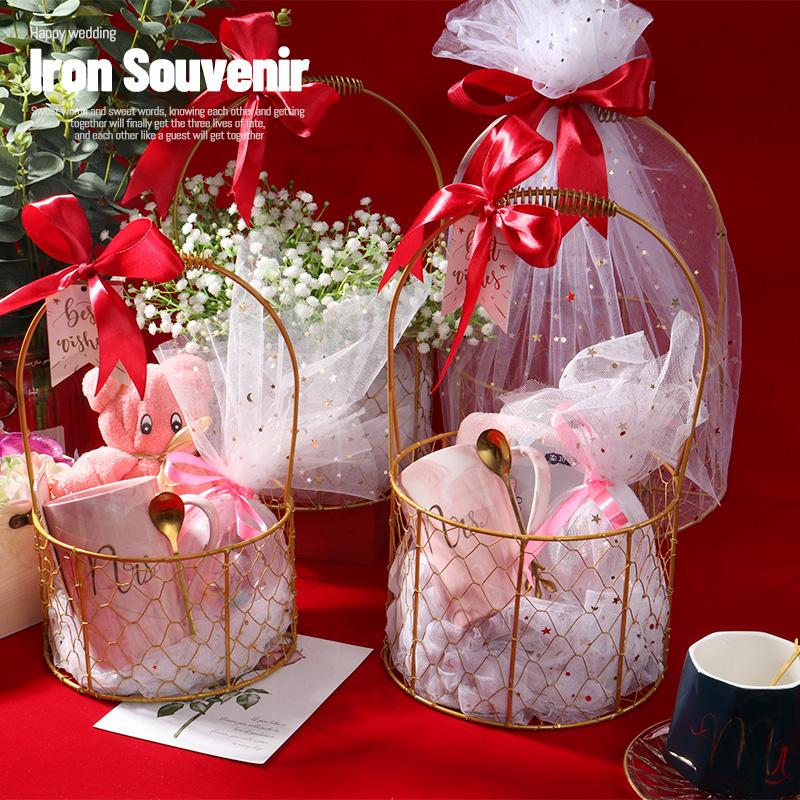 伴手礼伴娘女妇女节实用结婚伴郎生日新婚创意小清新铁艺篮回礼品