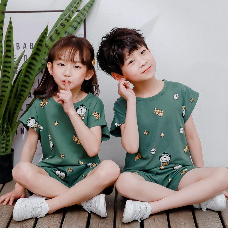 儿童短袖套装男童裤子宝宝女童上衣2021新款夏装童装纯棉睡衣套装