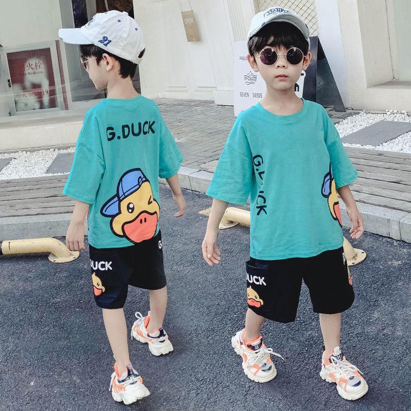 网红男童装洋气时髦男孩儿童2021年夏季夏装夏天套装中大童帅气潮