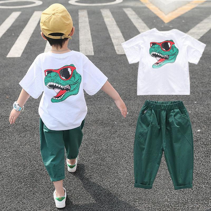 2021新款男童套装夏装儿童短袖两件套纯棉洋气中大童韩版恐龙潮衣