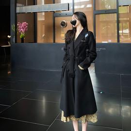 詹维尼 黑色毛呢外套女中长款2020新款秋冬西装领双排扣大衣外套