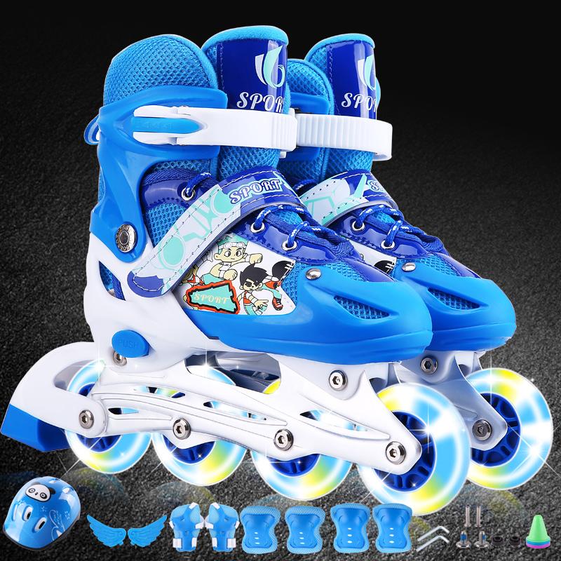 【大小可调】3-5-7-9-12岁男女小孩溜冰鞋套装儿童旱冰滑冰轮滑鞋