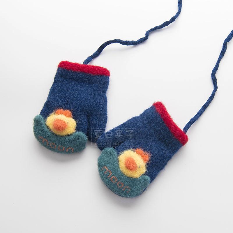 冬季宝宝手套婴儿5-8岁4连指黄色粉色玩雪秋冬针织黑色小公主小学