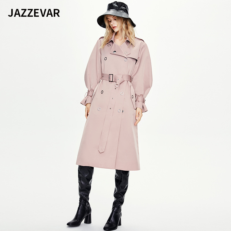 Jiazehua autumn / winter 2020 new windbreaker womens extended metal ring buckle counter quality boutique womens coat