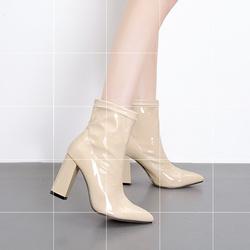 欧美走秀新款宝蓝色亮皮短靴女粗跟超高跟鞋杏色尖头漆皮马丁靴子