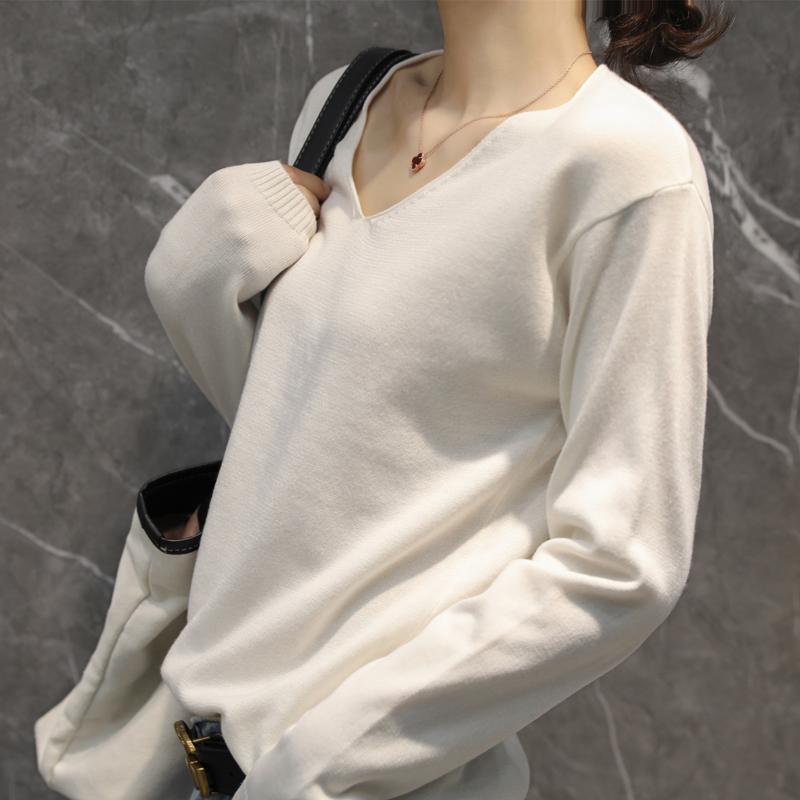 v领针织衫女长袖秋新款韩版针织衫堆堆领宽松毛衣圆领打底衣大码