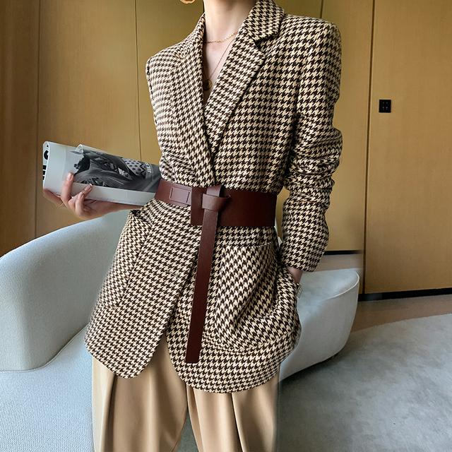 千鸟格毛呢西装外套女短款2020年秋冬季新款气质百搭加厚格子西装