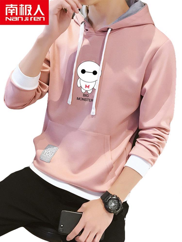 连帽卫衣男粉色春装韩版帅气t恤大白图案设计感男生套头衫