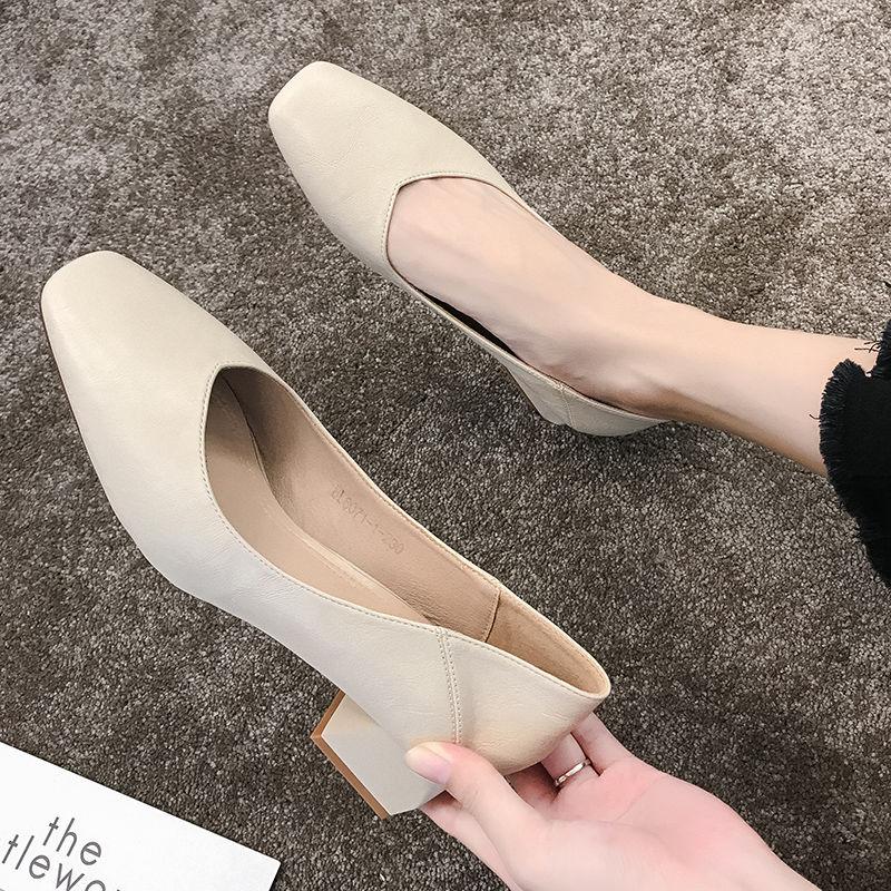 2021新款时尚方头高跟鞋女中跟百搭黑色工作职业5cm粗跟单鞋女鞋