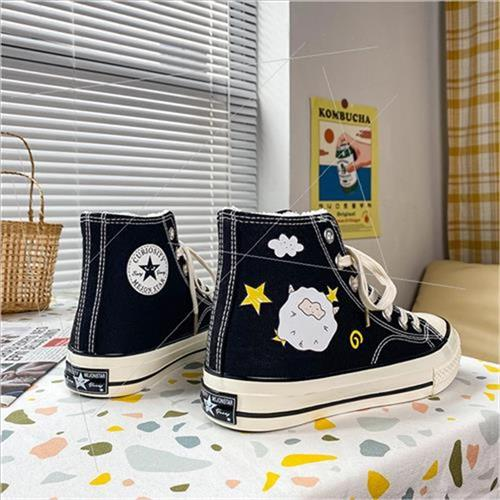 Fmon winter New Plush & amp; thickened printing T lamb high top canvas shoes womens 2020 port X Wind versatile student board