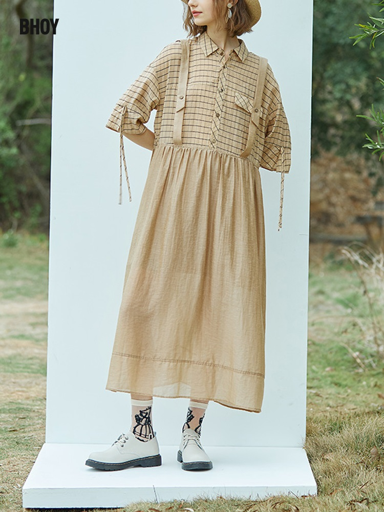 BHoy French shirt dress 2021 summer new loose design retro style strap long skirt linen
