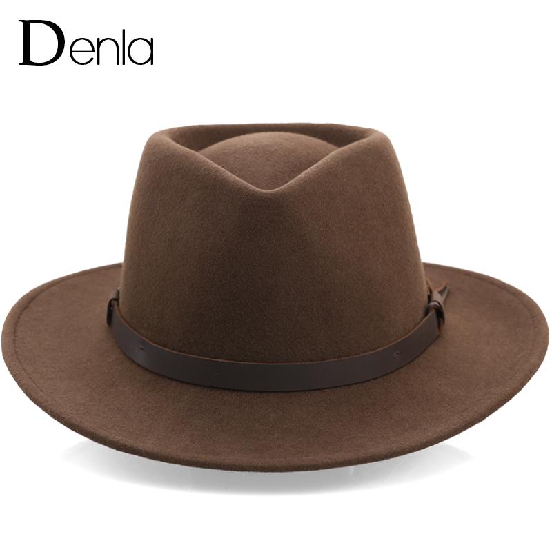 纯羊毛呢户外大檐休闲潮流礼帽防紫外线藏式软定型毡帽子男