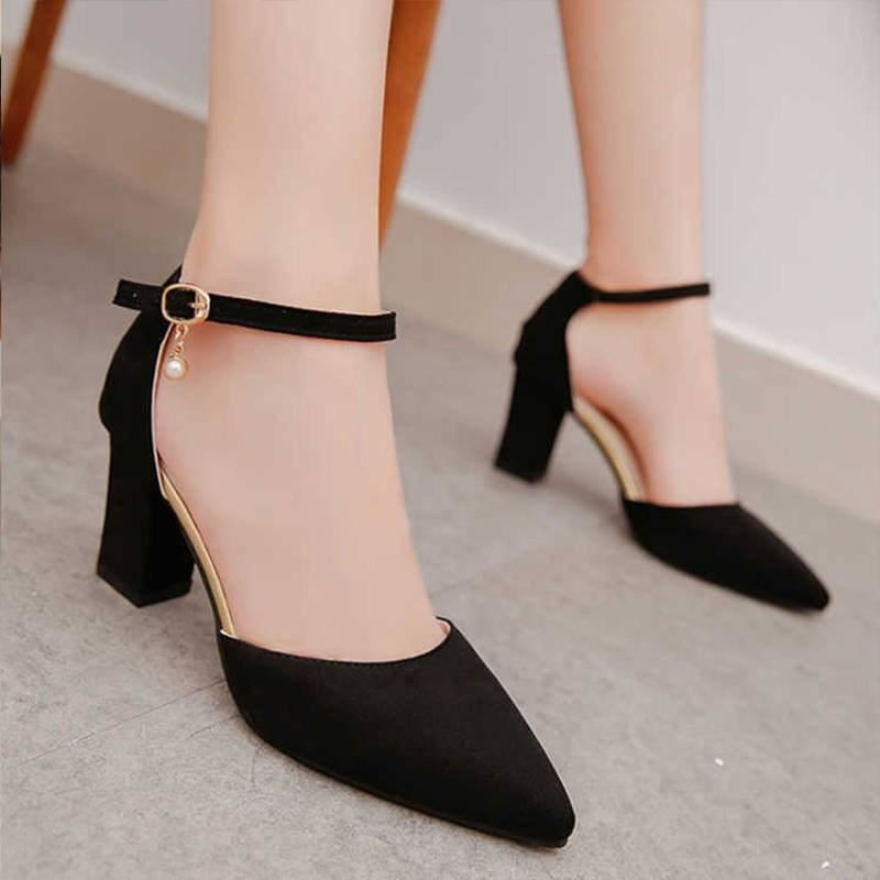 2019 spring new sandals button high heels thick heel pointed Korean hollow one line womens Suede shallow mouth work shoes