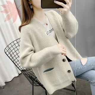 毛衣外套女2021年新款秋冬款女装女士针织开衫秋冬季加厚毛衣外套