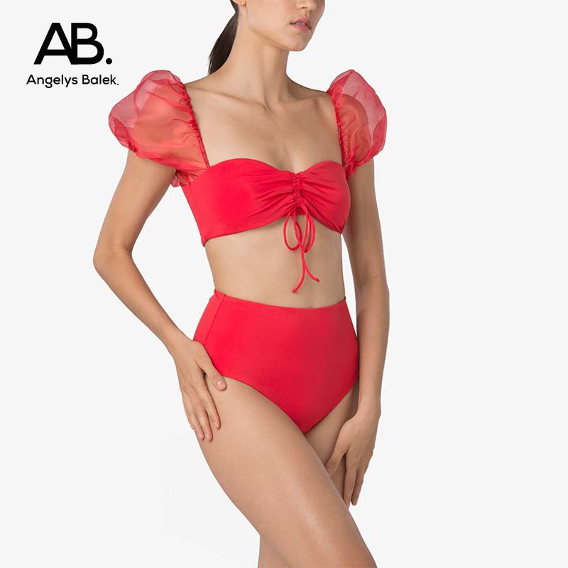 Angelys balek split Swimsuit Bikini Thai designer ab. fluffy sleeve swimsuit womens summer new style