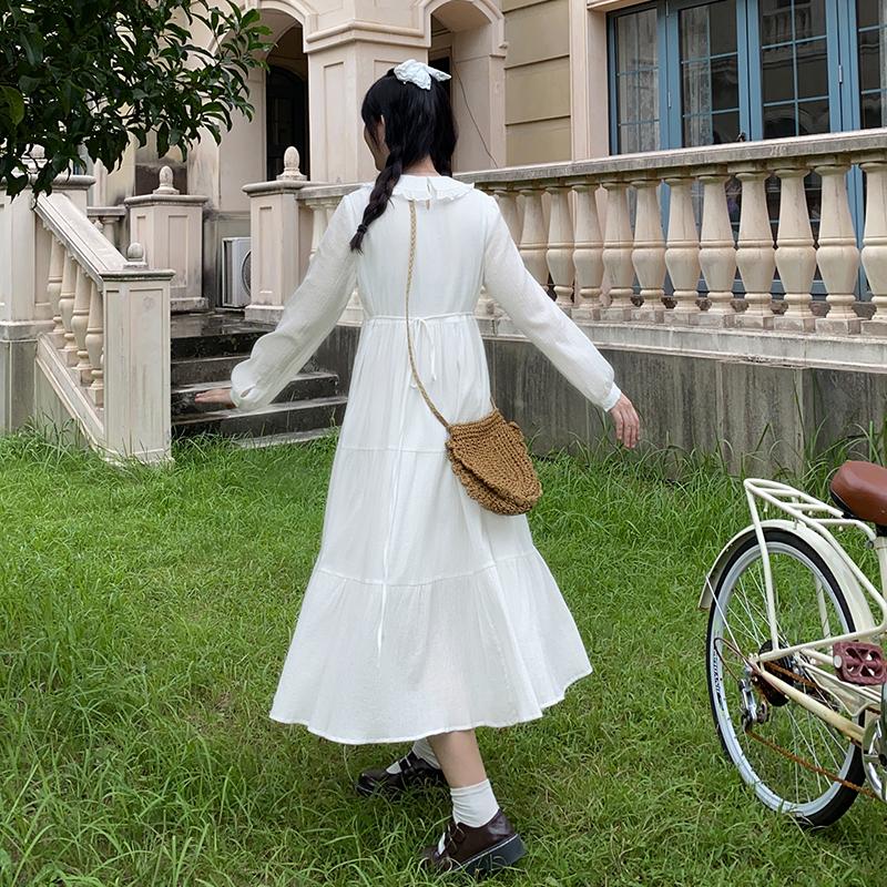 【全糖小欧】微胖女孩值得拥有的白色连衣裙少女感娃娃领显瘦长裙