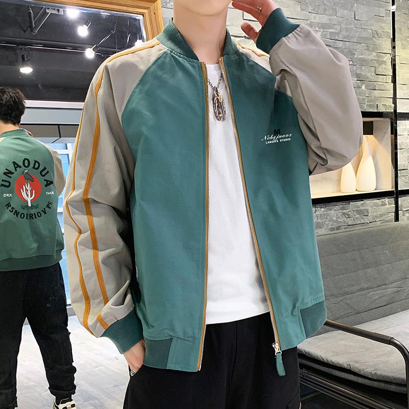 外套男春秋季2020新款韩版潮流立领印花帅气休闲薄款男装夹克短款