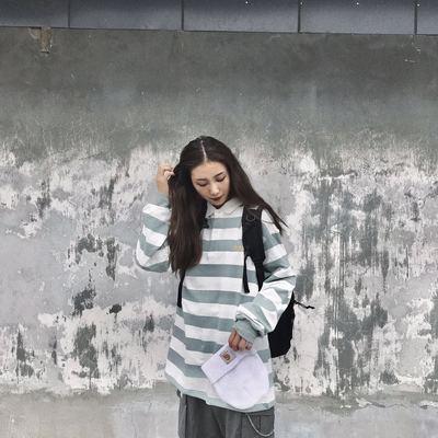 PUNIAMA 18A/W 基础三色黑白条纹POLO衫长袖 日系复古男女宽松T恤