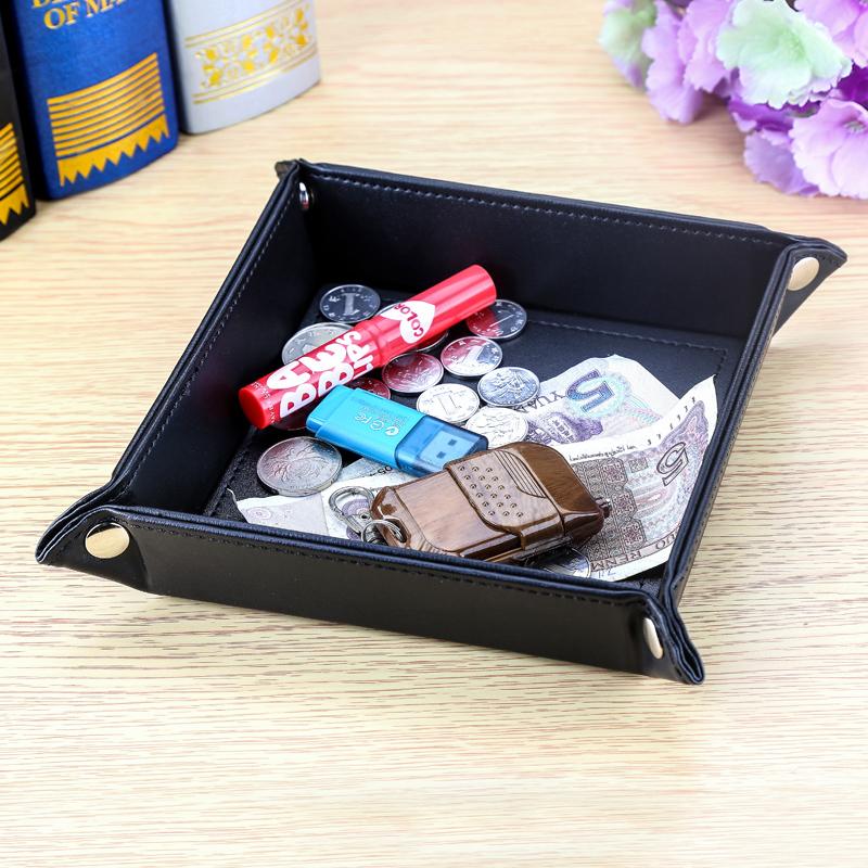皮革钥匙盒零钱盘整理盒桌面收纳盒杂物收纳创意摆件商务办公用品