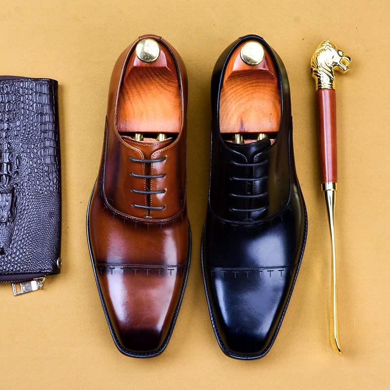 英伦商务正装皮鞋男方头三接头牛津鞋固特异手工大码男鞋