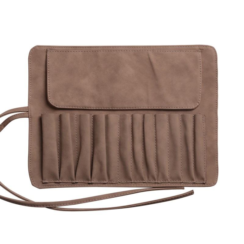 lexni12支化妆刷包皮质化妆笔收纳袋便携化妆工具刷包卷式空刷包