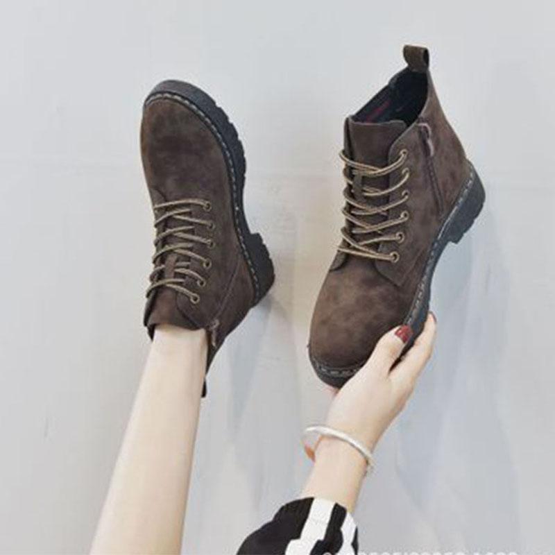 秋冬季新款马丁靴女英伦风百搭韩版系带圆头女靴防滑舒适平跟短靴