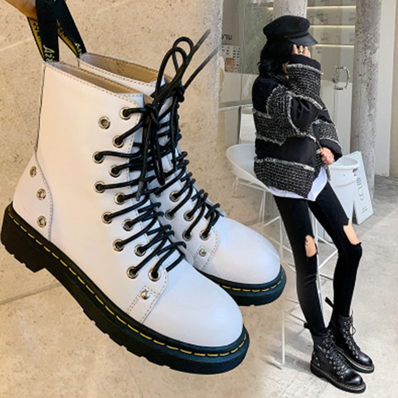 Leather thick sole 2020 new Martin boots womens British style ins handsome motorcycle boots versatile lace up short boots