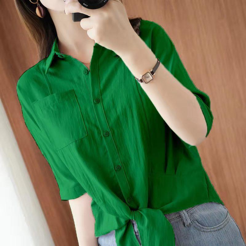 雪纺衫女2021夏季新款短袖条纹衬衫遮肚子显瘦气质小衫很仙的上衣