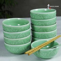 创意陶瓷碗中日韩式家用米饭碗吃饭碗浮雕缠枝牡丹餐具