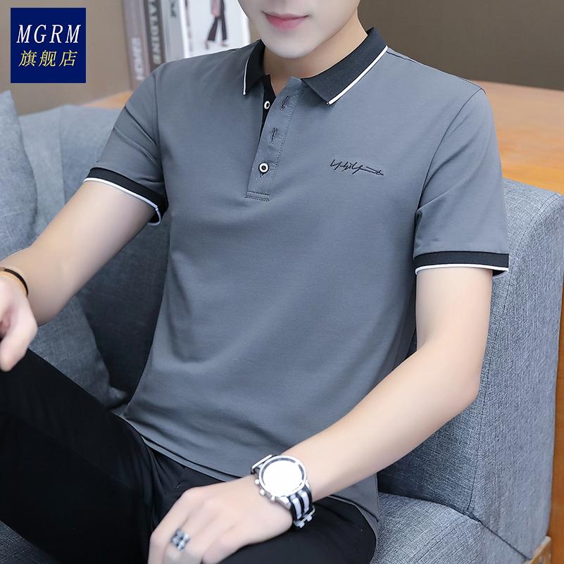 2021短袖t恤 男潮流夏季男装修身纯棉衬衫领男士polo衫半袖上衣服