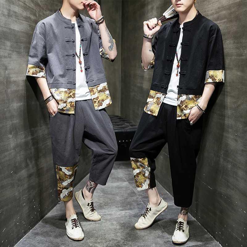 唐装棉麻套装中国风男装青年汉服复古装潮牌亚麻禅服中式民族服装