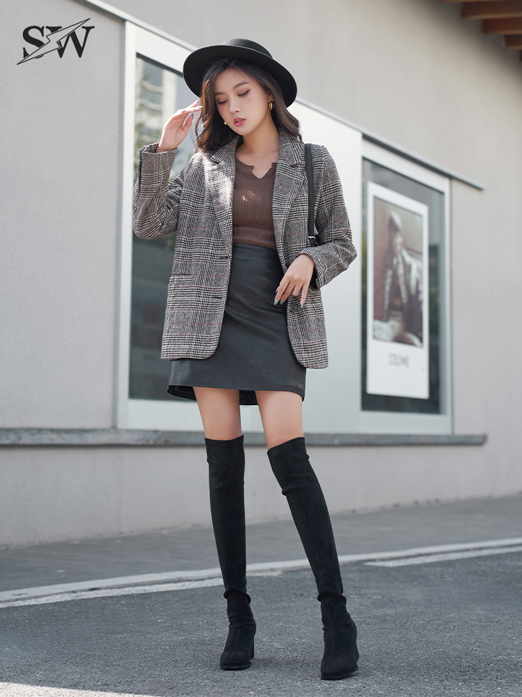 Ladys house over knee boots 2021 new spring thick heel elastic suede high heel slim leather boots socks