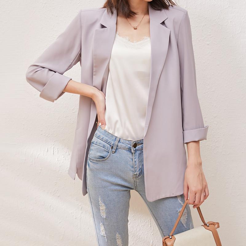 雪纺小西装外套女2021春夏季新款韩版宽松防晒衣中长款空调开衫薄