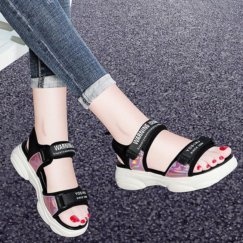 女运动凉鞋女2021新款厚底夏季学生韩版坡跟仙女风沙滩鞋网红ins