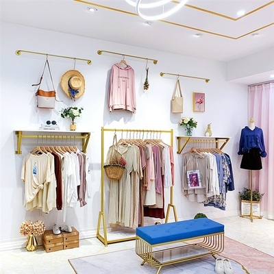 Complete sets of clothing furniture clothing store display rack wall hanging clothes hanger simple womens clothing store display rack gold.
