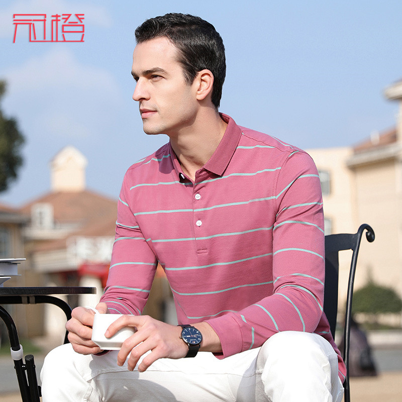 Crown orange t-shirt men 2020 spring and autumn new middle aged mens striped top basic casual mens t cotton spring clothes