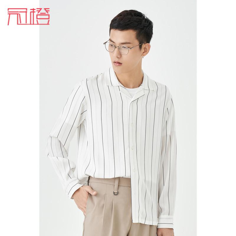 Guan orange autumn new Tencel Hawaiian Shirt Mens long sleeve loose Korean fashion cool casual Stripe Shirt