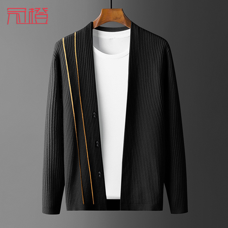 Crown orange mens cardigan sweater color contrast jacquard casual fashion brand outer sweater jacket autumn mens top